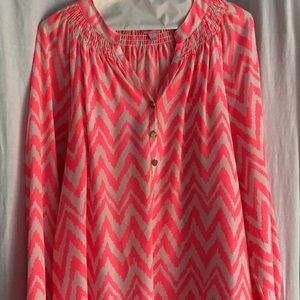 Lilly Pulitzer Neon Pink Chevron Elsa Silk Top